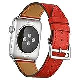 エルメス 時計 Bonivita 38 mm 42 mm本革交換バンドwithクラシックメタルアダプタClasp Single Tour for Apple Watchシリーズ3シリーズ2シリーズ1 Nike + Hermes & Edition (42mm, Red)