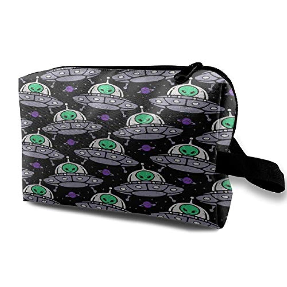 枕絶対の完全にAlien UFO Pattern 収納ポーチ 化粧ポーチ 大容量 軽量 耐久性 ハンドル付持ち運び便利。入れ 自宅?出張?旅行?アウトドア撮影などに対応。メンズ レディース トラベルグッズ