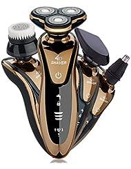 メンズシェーバー電動 3枚刃 4 in 1髭剃り お風呂剃り可能 トリマーと鼻毛カッター 洗顔ブラシ付き 防水仕様IPX基準 本体丸洗い可能