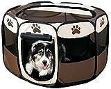 【 簡単 設置 】 折り畳み ペット サークル 犬 猫 兼用 W ファスナー コンパクト メッシュ MI-PETCIR (Sサイズ)