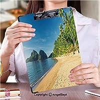 クリップボードメモ型サイズ低プロファイルクリップ 学生用かわいい画集エルニドラスカバナスビーチ (1個)