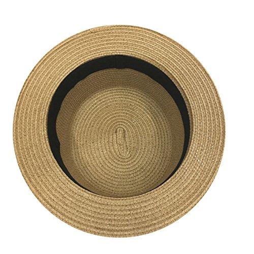 Yuelian(TM) ストローハット 麦わら帽子 リボン カンカン帽 メンズ レディース 帽子 夏 UV対策 日焼け防止