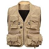 tsptool Fly Fishing Vest with多機能ポケットアウトドア通気性メッシュウエストコートジャケットカーキ
