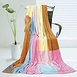 「春の風」柔らかい珊瑚フリース パッチワークの毛布(149.8cm*199.8cm)