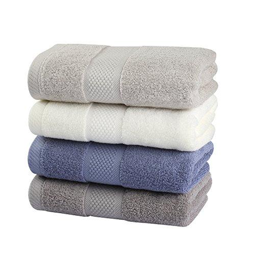 フェイスタオル 100%綿 柔らか 吸水抜群 ホテルタイプ タオル 約34*74cm 4色4枚セット