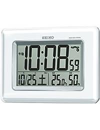 セイコー クロック 掛け時計 置き時計 兼用 電波 デジタル カレンダー 温度 湿度 表示 白 パール SQ424W SEIKO