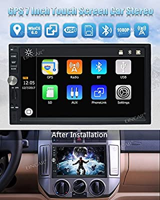 EinCar Car Audio Double Din 2DIN 7 Touchscreen MP5 Stereo in Dash GPS Navigation Support Bluetooth Mirror Link EQ SWC USB SD + 8GB Map Card & Wireless Waterproof Backup Camera with Nightvision
