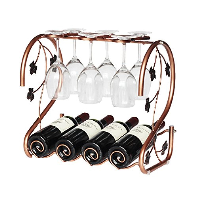アイロンカウンタートップワインボトルホルダー折りたたみワインラックスタンド6ワイングラスとワイン4本入り(サイズ:42×25.5×39cm)
