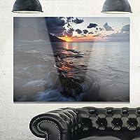 """デザインアートmt10894–20–12ダーク地中海ビーチDawnモダンSeashoreメタル壁アート 28x12"""" MT10894-28-12"""