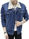 (ゆうや)YoYeah メンズ デニムジャケットカジュアル 冬 あったか 裏ボア ジージャン ス ブルゾン ジャンパー 防寒 ジーンズ ファッションコーディネート blue M