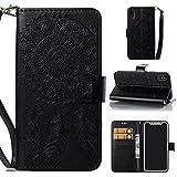 iPhone Xケース iPhoneXカバー 手帳型 良質レザー 耐衝撃 全面保護 スタンド機能 財布型 花柄ストラップ