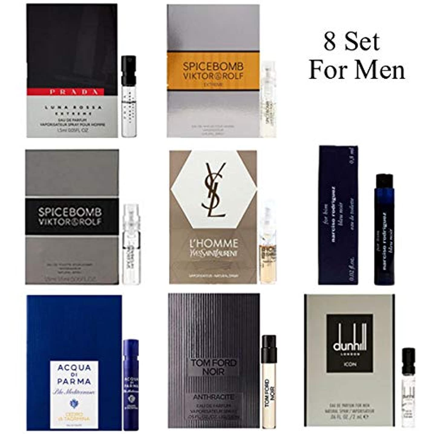 ポーク味ゆりかご男性用 Eau de Parfum (Eau de Toilette) For Men Samples 8/set [海外直送品] [並行輸入品]v