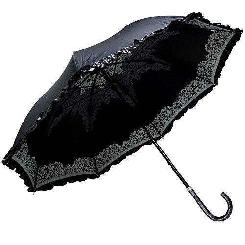 Clack レディース 傘 / スライド式 手開き傘 晴雨兼用 紫外線99%カット 内側 レースプリント 上品デザイン フリル UV対策 日傘 雨傘 ブラック Free [ ポリエステル100% ] 【正規品】