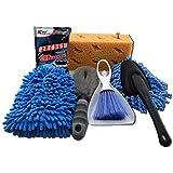 FANCYLEO 6 Pcs Car Cleaning Tools Kit, Car Wash Mitt Glove Large Washing Sponge Microfiber Wheel Brush High Concentration Car Wash Car Dash Duster Car Rim Detailing Brush