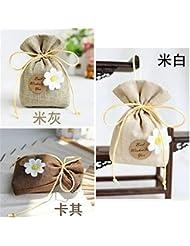 Gardenia/Clove/Gulongの芳香の芳香の芳香剤の香料入りの磨き粉、ワードローブのための自然な芳香の芳香の芳香袋、車、 (Color : Khaki, Scent Type : Gardenia)