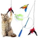 猫じゃらし 猫のおもちゃ じゃれ猫 ネコ遊び 猫のお好み ぶらぶら ペットグッズ ねこ用品 鈴付き 羽のリフィル交換用パック 折り畳式 伸縮できる 釣り竿(1本)天然鳥の羽根(3羽) 運動不足解消 ストレス解消