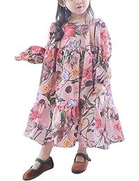 Liebeye ドレス 女の子 子供 かわいい プリンセス 長袖 花柄 フェアリー スカート 誕生日 パーティー ドレス ギフト ピンク