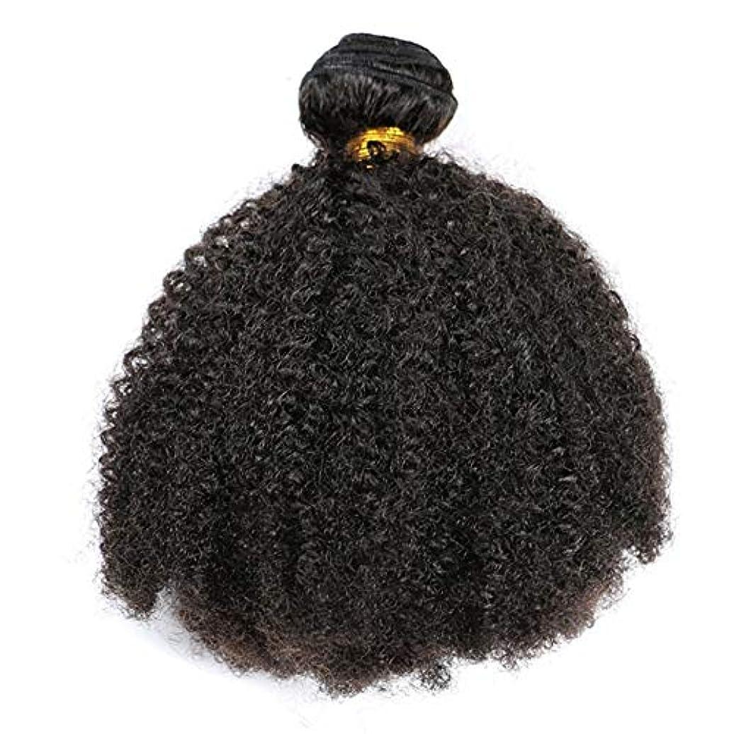 光沢のあるストリーム石膏YESONEEP ブラジルの髪1バンドルアフロ変態カーリーヘアー織り人毛100%エクステンションナチュラルブラック複合毛レースのかつらロールプレイングかつら (色 : 黒, サイズ : 18 inch)