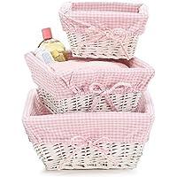 Set of 3 Baby Girl Nursery Storage Baskets - White Willow with Pink Cotton Gingham Fabric by Burton & Burton