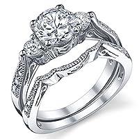 スターリングシルバー結婚婚約リングセットリングキュービックジルコニアCZサイズ5to 9