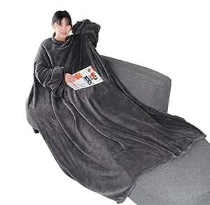 Winthome 袖付き毛布 着る毛布 ブランケット 着るブランケット 暖かく柔らかい素材 防寒 保温 軽量 冬の寒さ 足先の冷えや節電対策に!170*140cm