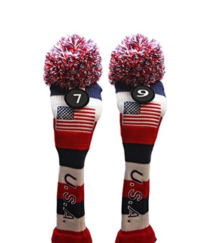 USA Majekゴルフ7 9 Fairway Woods Headcoversポンポン付きニットLimited EditionヴィンテージクラシックTraditionalフラグ星レッドホワイトブルーストライプレトロヘッドカバーFits 260 cc Woods