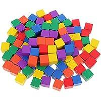 Baosity 子供 早期教育 図形 キューブ つみき ブロック 正方形 木製  知育 おもちゃ 玩具 カラフル - 100個
