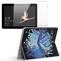 Surface go 専用スキンシール ガラスフィルム セット サーフェス go カバー ケース フィルム ステッカー アクセサリー 保護 女性 イラスト 水色 012285