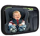 FSDUALWIN 車用 ベビーミラー 後部座席ベビーシートの様子がすぐ分かる 子供の安全が確認 補助ミラー インサイトミラー アクリル鏡面 高解像度 曲面鏡 簡単取付 ガラス飛散防止 角度・方向調節可能(ブラック)