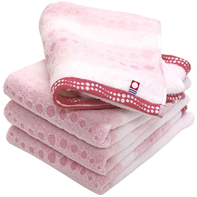 hiorie(ヒオリエ) 今治タオル 認定 幾何ジャガード クレール フェイスタオル 4枚セット ピンク 日本製 今治ブランド