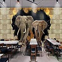 Xbwy カスタム写真の壁紙3Dステレオ象の装飾的な壁画のリビングルームレストランの寝室の廊下の背景の壁紙-120X100Cm