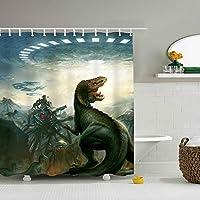 恐竜シャワーカーテン カットもできる カーテンリング付 お風呂 ユニットバスに最適 横165×縦180cm