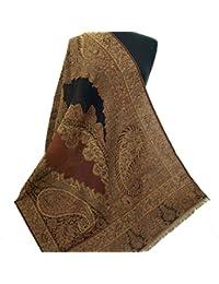 エキゾチックデザインブラック&シナモンウールJamawarペイズリーショールパシュミナ手カットワーク刺繍