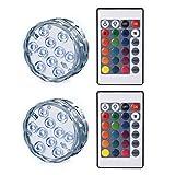 LEDGLE LED潜水ライト 水中LEDライト サブマリンLEDランプ ポータブル 魚タンクライト リモコンで操作、PSシェル、10灯LED、バッテリー駆動、IP68防水、ワイヤレスデザイン、2点セット