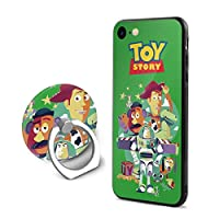 DSM_case Toy Story トイストーリー IPhone 7/8 ケース Case TPU素材 強化ガラス スタンド付き 耐衝撃 スマートフォンケース 充電対応 薄型 超軽量 超耐磨 脱着簡単 カバー Black