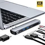 USB Type C ハブ mac 7-in-1 VANMASS hub 相性抜群 良い放熱性 40Gb/s PD充電可能 高速データ転送 4K高画質 持ち運びに便利 増設拡張 HDMI変換アダプター HD出力ポートUSB C ハブ USB 3.0ポート*2 USB-Cポート*2 Micro SD/SDカード 2016/2017/2018 MacBook Pro 13