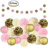 [ピンク、ゴールド&アイボリーのパーティーデコレーションAdorable Mixed Pink, Gold & Ivory Party Decorations By Epique Occasions – Set Of Hanging Tissue Paper Flower Pom Poms, Lanterns & Honeycomb Balls For Birthday, Wedding & Party Décor-22 Pcs & String] (並行輸入品)