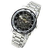 メンズ 機械式腕時計 フルスケルトン自動巻き腕時計 シルバー