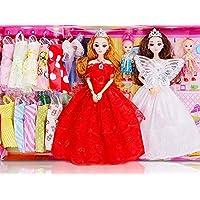 桜の雪 可愛い お洒落 キラキラ ドレスアップ人形 12関節 ドレス 16着 セット (レッドとホワイト)