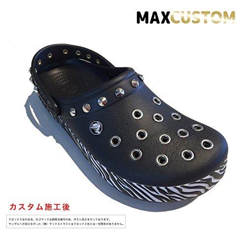 クロックス crocs ゼブラ パンク カスタム ブラック 黒 crocband animal clog サンダル (26)