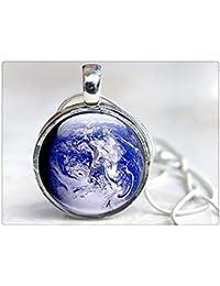 プラネットアースネックレス - ガラスの地球ネックレス - 地球ジュエリー