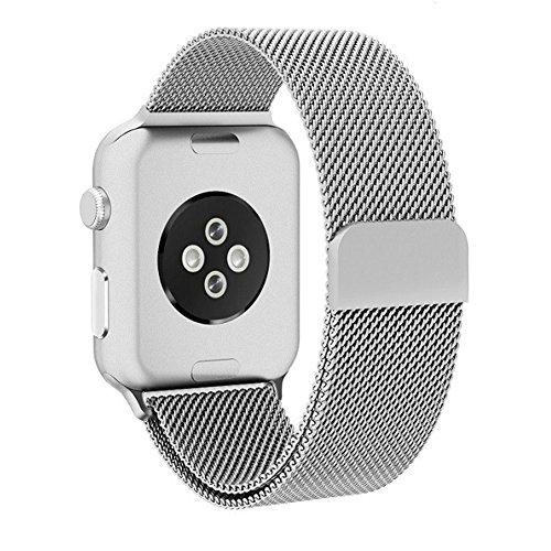 Grotech apple watch バンド アップルウォッチバンド ミ44mm ラネーゼループ ステンレス留め金 apple watch series 4/3/2/1に対応 42mm (シルバー)