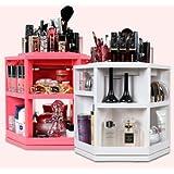 コスメ ボックス,化粧品 収納、楽、簡単、回転する化粧品収納整理台、ピンク色