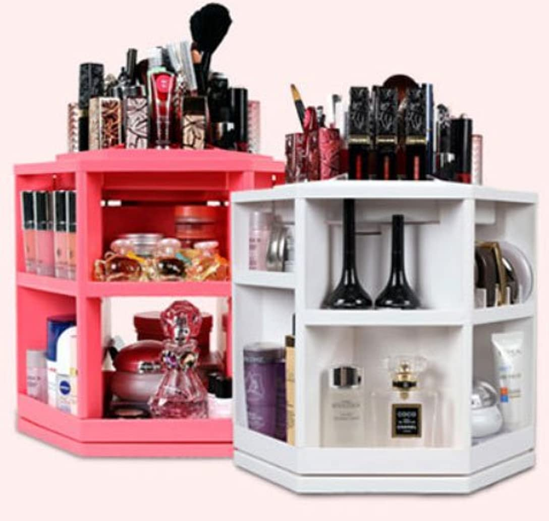 侵略対立拳コスメ ボックス,化粧品 収納、楽、簡単、回転する化粧品収納整理台、ピンク色