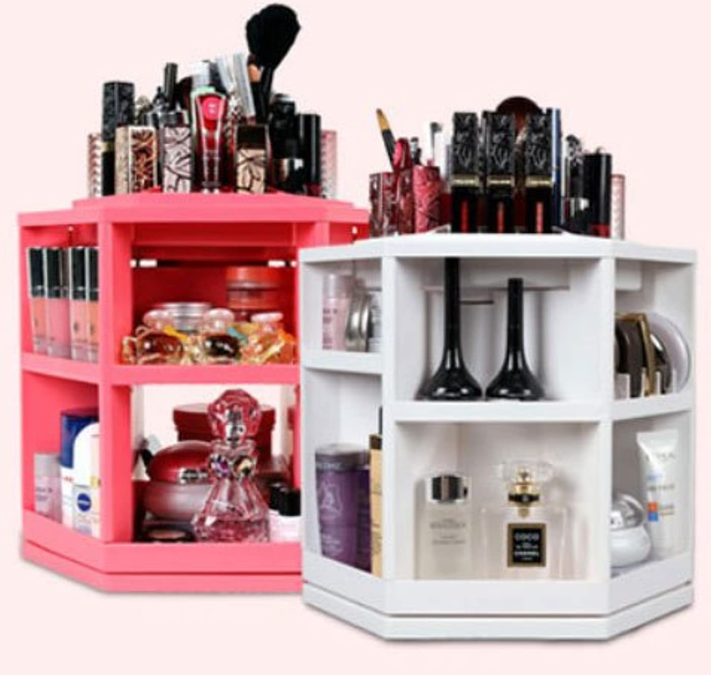 操る技術者甥コスメ ボックス,化粧品 収納、楽、簡単、回転する化粧品収納整理台、ピンク色
