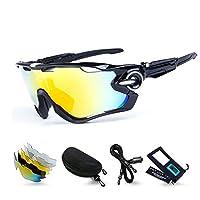 M.O.C evo スポーツサングラス レンズセット 5枚交換レンズ 偏光サングラス 偏光 uv400 超軽量 サイクリング ロードバイク ゴルフ 登山 メンズ レディース (黒/白)