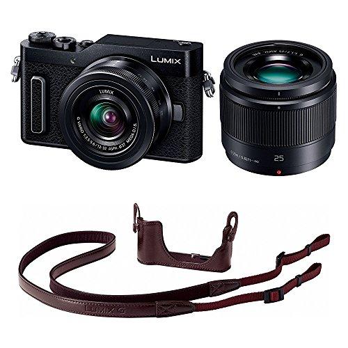 Panasonic ミラーレス一眼カメラ ルミックス GF90 ダブルレンズキット ブラック DC-GF90W-K + ボディケースストラップキット ブラウン DMW-BCSK8-T セット