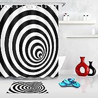 """LB面白いマジックスペルCheat Dizzy Eyes Illusion装飾シャワーカーテン3d 60x 72"""" 72x 72""""白カビ耐性防水浴室ポリエステル生地風呂カーテンライナーセットwithプラスチックフックバスマット 72X72""""Curtain+Mat Magic Eyes Illusion Shower Curtain"""
