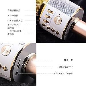 Verkstar Bluetooth カラオケマイク ポータブルスピーカー 高音質カラオケ機器  Bluetoothで簡単に接続 無線マイク 一人でカラオケ イヤフォンジャック付き Android/iPhoneに対応 (ゴールド)
