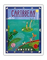 カリブ海 - ユナイテッド航空 - ビンテージな航空会社のポスター によって作成された メリザンド・ポッター c.2004 - アートポスター - 28cm x 36cm